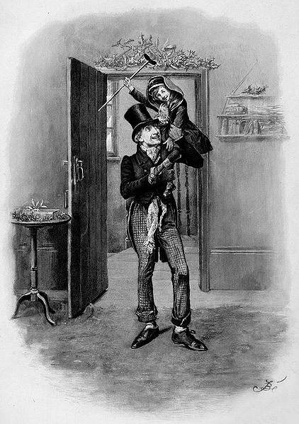 Bob Cratchit holding his son, Tiny Tim. In 'A Christmas Carol', Bob and his beloved family reside in Camden...