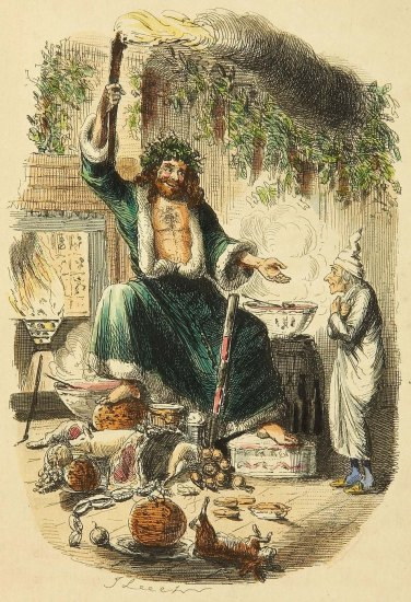 Original illustration depicting the Ghost of Christmas Present paying a visit to Scrooge in his London home...