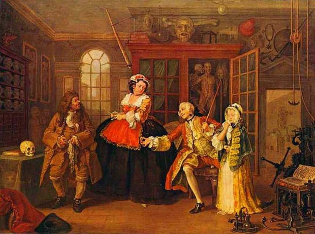 'The Visit to the Quack Doctor' by William Hogarth, 1743.