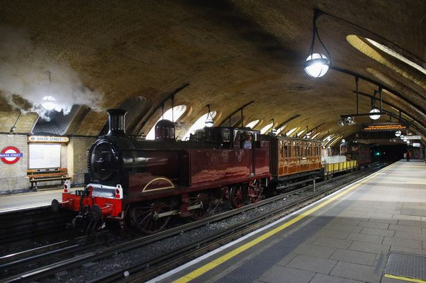A steam engine at Baker Street station, carrying out a a trial run for 2013's commemorative trip. (Image: The Daily Mirror)