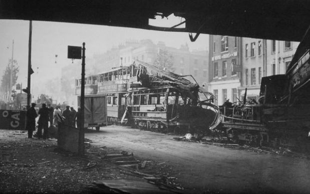Smashed trams standing opposite the bombed Ring (image: Nickel in the Machine)