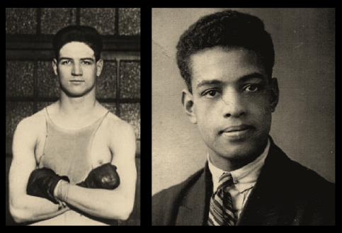 Jack Hood (left) and Len Johnson (right) who boxed at The Ring in the presence of the Prince of Wales.