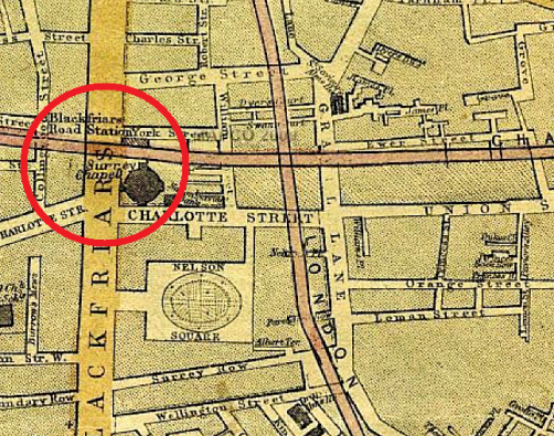 1860s map depicting the chapel which would later become The Ring boxing venue...