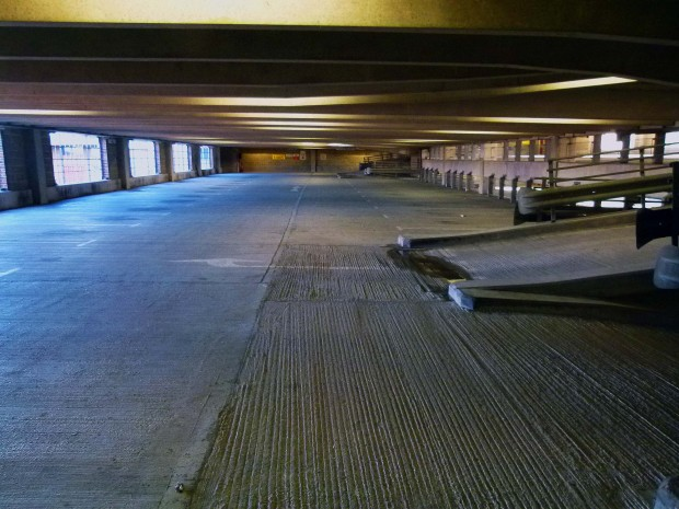 Not a car in sight... Tobacco Dock Car Park pictured in 2013...