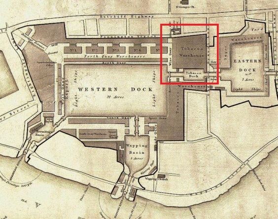 A 19th century map indicating the location of Tobacco Dock.