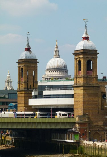 Three towers... Cannon Street and nearby St Paul's Cathedral.