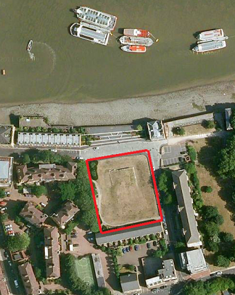 Satellite view of the site occupied by Edward's manor house. In medieval times, the Thames was far wider here, thus creating a small island.