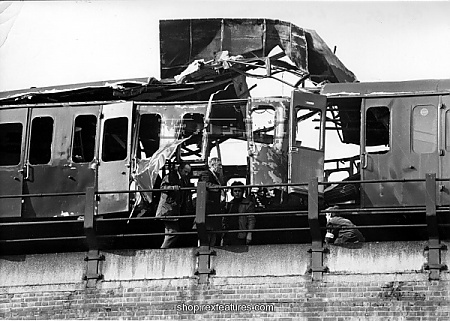 The bombed carriage which was mercifully empty.
