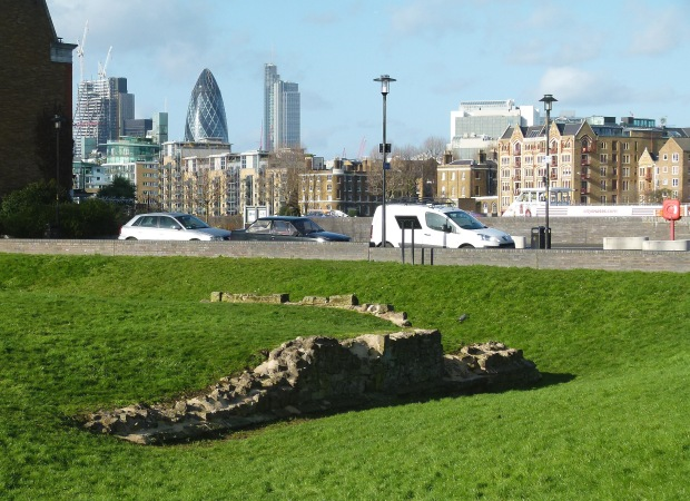 The ruins of King Edward's palace, looking towards London's financial heart.