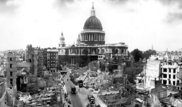 This view of St Paul's from the vicinity of Cannon Street demonstrates the devastation suffered in the area.