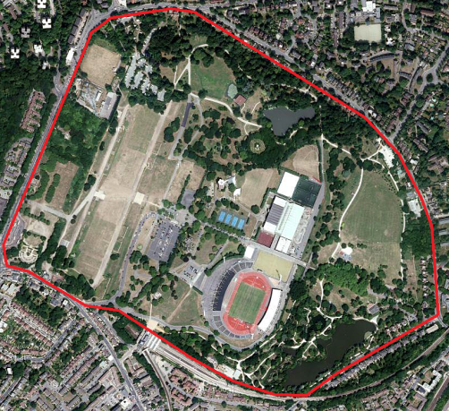 Satellite view of Crystal Palace Park (image: Google)