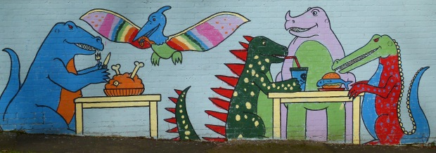 Dinosaur mural at Crystal Palace Park's cafe.