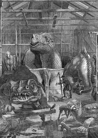 Inside the dino workshop, early 1850s (image: Wikipedia).