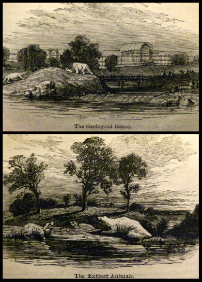 The Dinosaur Park, as depicted in an 1854 guide book.