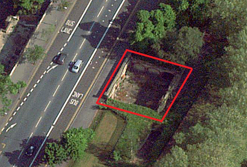 Ariel view of the derelict subway (note: there is no public access. Image: Google).