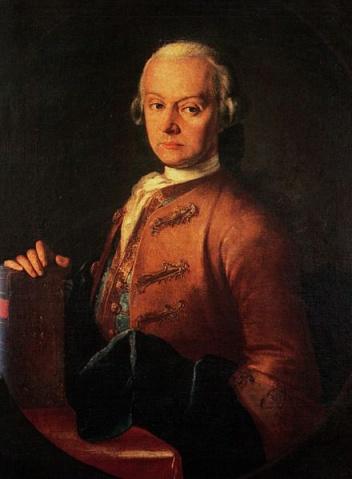 Leopold Mozart (portrait by Pietro Antonio  Lorenzoni, 1765).
