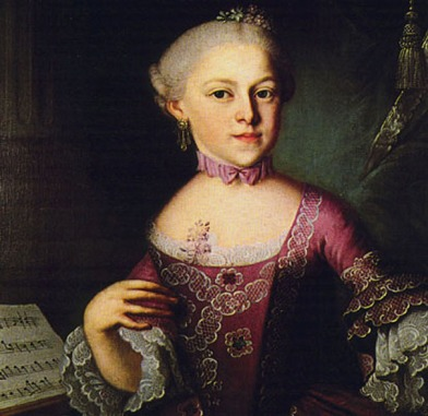 Maria Anna Mozart (portrait  by Pietro Antonio Lorenzoni, 1763).