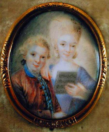 Miniature of Amadeus and Nannerl by Eusebius Johann Alphen, 1763.