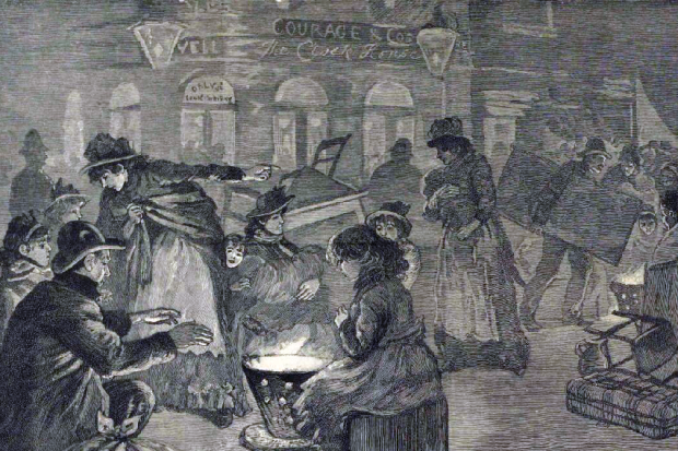"""The eviction of poor Irish families"" from Leather Lane, Illustrated London News, January 1892."