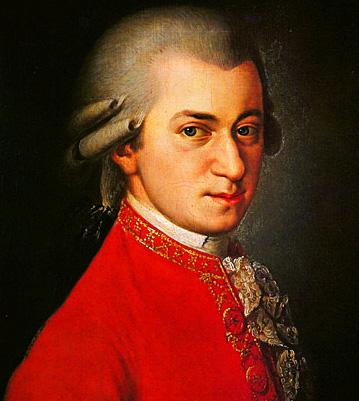 Wolfgang Amadeus Mozart (portrait by Johann Nepomuk della Croce, 1780).