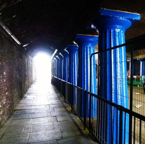 Ornate Doric columns beneath the viaduct on Abbey Street.