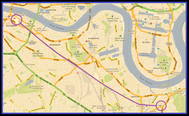Landmann's representing Landmann's original route- the purple line being entirely elevated. (Image: Google Maps)