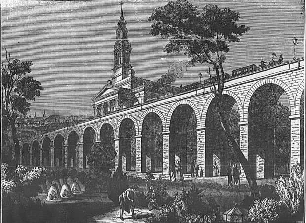 St James's Church behind the railway arches as depicted in the 1830s.
