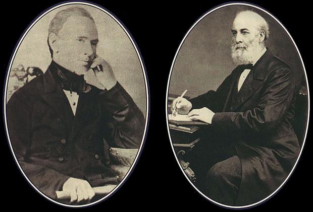 James Peek and George Frean; pioneering biscuit makers. (Image: Freshford.com).