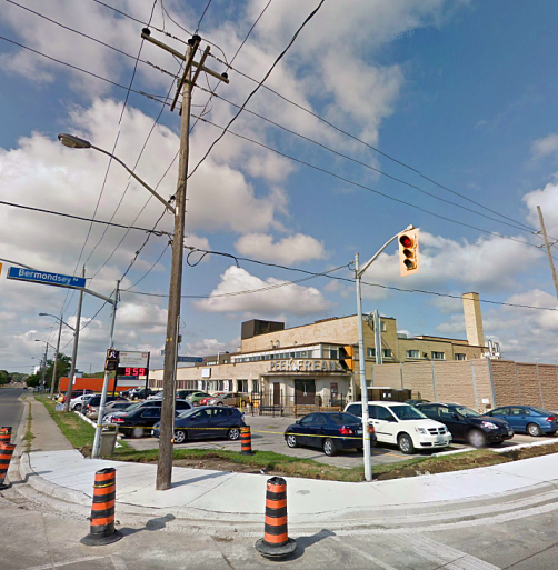 Peek Frean's Canada premises on Bermondsey Road, Toronto. (Image: Google Streetview).