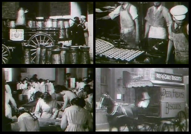 Screenshots from 'A Visit to Peek Frean & Co.'s Biscuit Works', 1906.