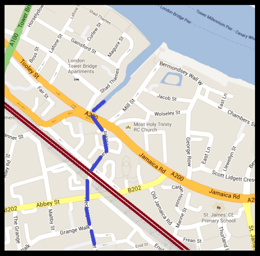 Map depicting the point where the railway viaduct crosses the subterranean Neckinger River (Map: Google).