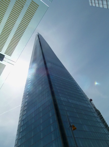 Looking up at The Shard from London Bridge Station.