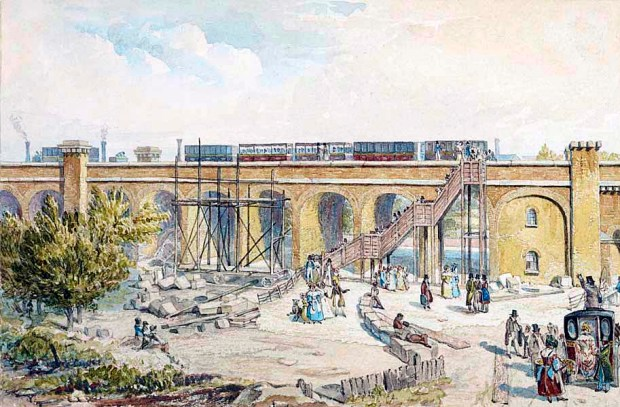 Spa Road Station in its earliest days. This drawing was created by Robert Blammell Schnebbelie who tragically died of starvation 1849. (Image: Museum of London).