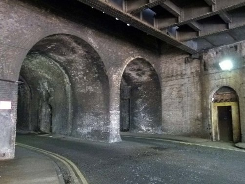 The Dockley Road arches.... the door seen on the right of the image was originally an entrance to Spa Road station.