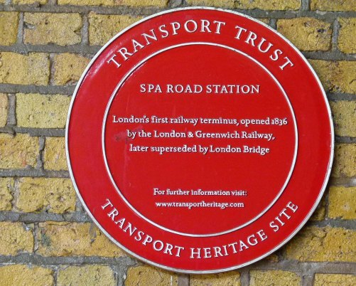 Plaque on Spa Road.