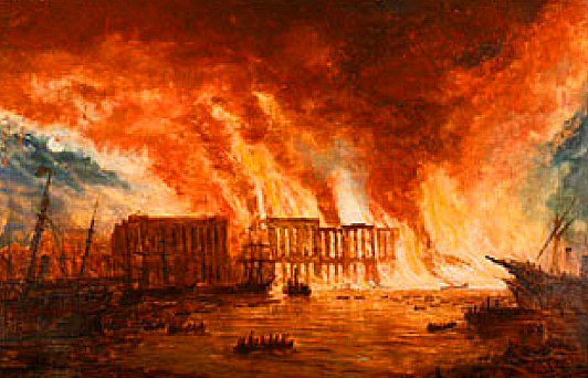 Contemporary painting depicting the Tooley Street Fire.