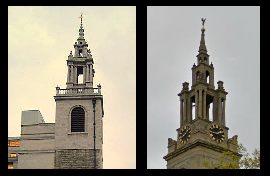 Two similar spires... St Stephen's Walbrook (left) and St James's Bermondsey (right).