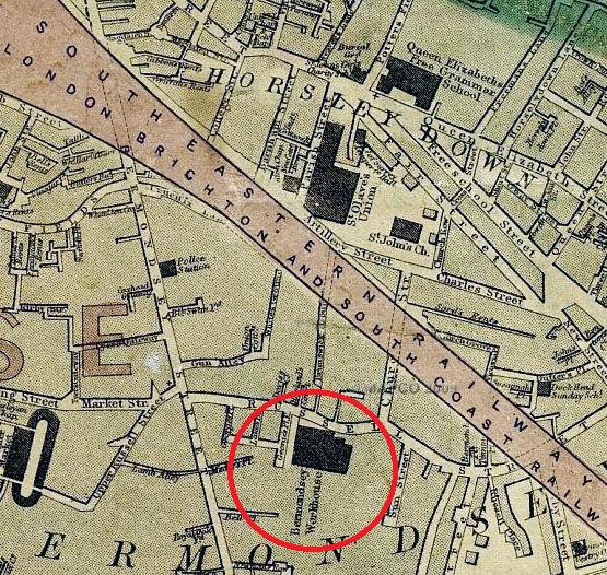 An 1860s map depicting the location of Bermondsey Workhouse.