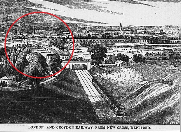 Early depiction of the London and Croydon Railway's southern branch. The junction at Corbetts Lane is circled in red (image: Wikipedia).