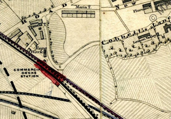 Commercial Docks Station depicted on a map from 1864 (image: mapco.net).