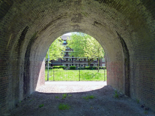 Looking towards the Crossfield Estate through the railway arches.