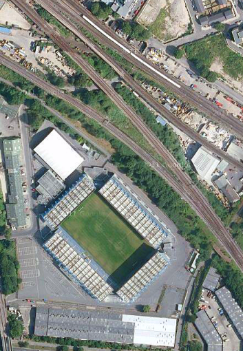 Satellite image of The Den and railway junction (image: Google).