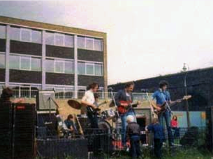 Dire Straits playing their first gig right beside the London to Greenwich arches, 1977. (Image: News Shopper).