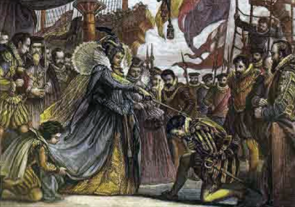 Francis Drake being knighted aboard the Golden Hind at Deptford (Image: reformation.org).