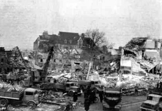 Aftermath of the devastating V2 strike on Woolworths, New Cross Road, 1944.