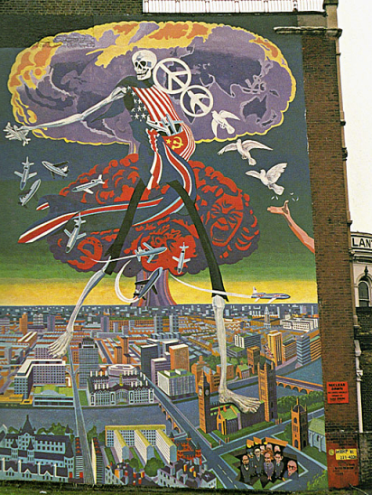 Nuclear Dawn; Brian Barnes' other south London anti-war mural, pictured here in 1981 (Image: djfood.com).