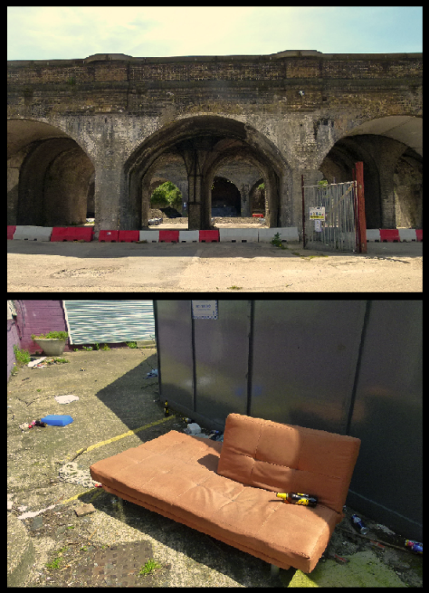 Scenes from Silwood Street... the London and Greenwich arches and signs of illegal dumping.