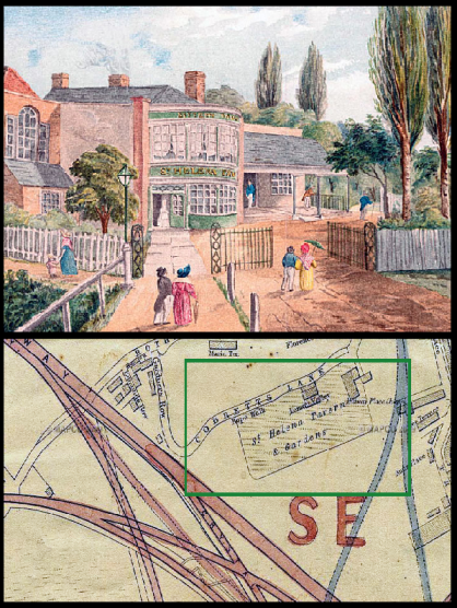 The St Helena Tavern and  map indicating its former location.
