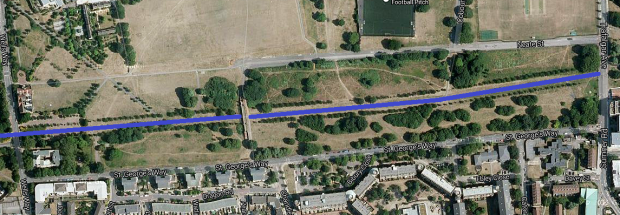 Satellite view of the Canal's route through Burgess Park; now converted to a footpath (image: Google).