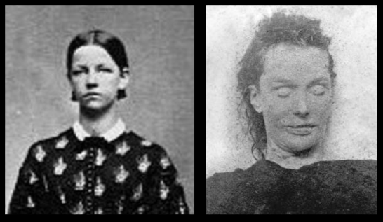 Elizabeth Stride in life and death... the image on the right was taken inside the former mortuary.